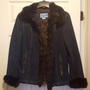 Nine West fur trimmed jean jacket